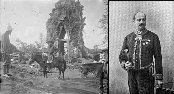 Những nhà nghiên cứu/khảo cổ Pháp tại Đông Dương: Henri Parmentier,  Charles Carpeaux à Đồng Dương en 1902 và Étienne Aymonier. Nguồn: http://www.champapura.fr/