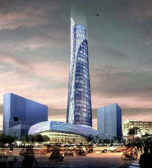 Mô hình dự án toà tháp Tax Plaza cao 40 tầng.
