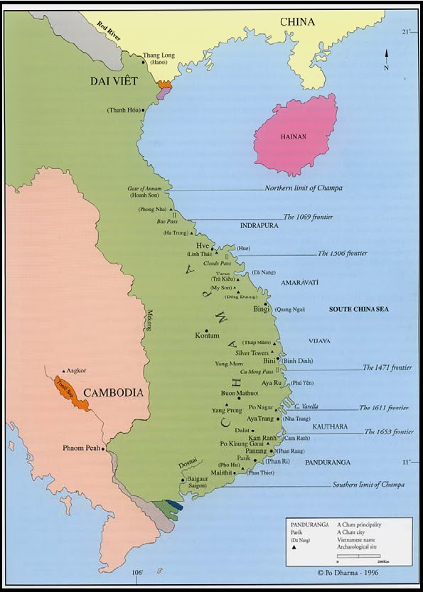 Bản đồ Champa. Nguồn Po Dharma