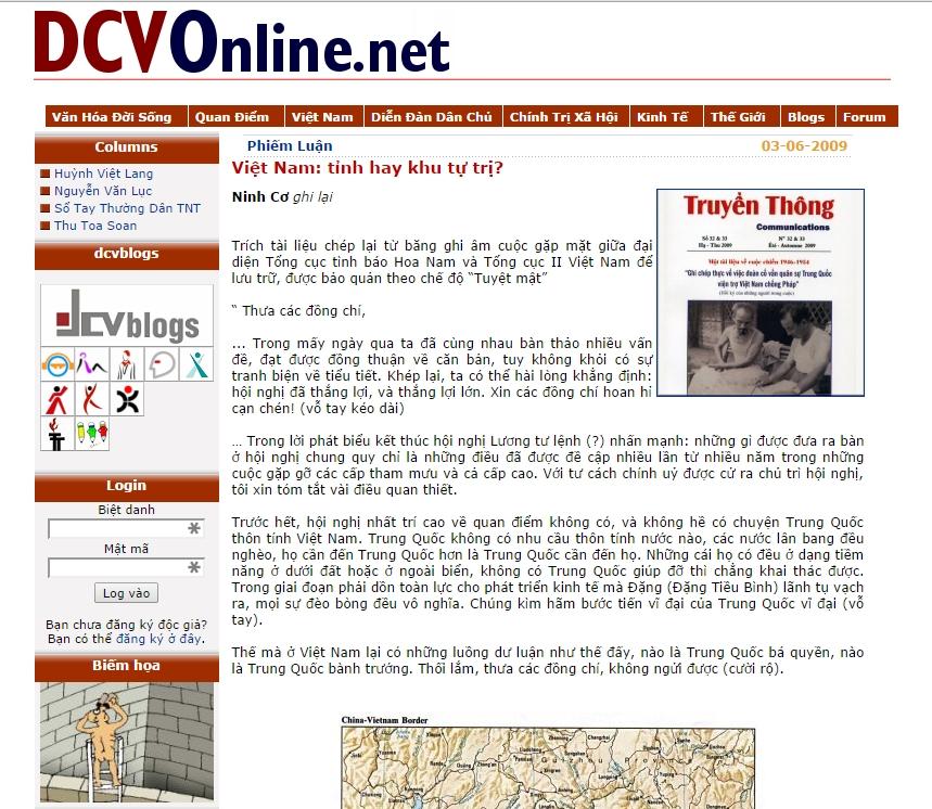 Việt Nam: tỉnh hay khu tự trị? Nguồn: DCVOnline.net