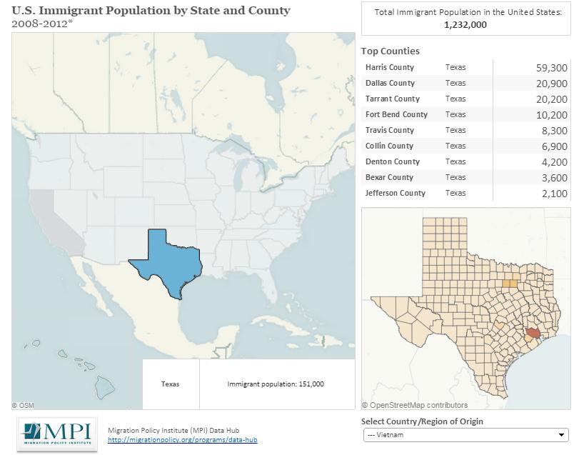 Hình 2b: Dân số cư dân Việt   Nam tại các quận lỵ ở Texas.