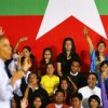 Audience members vie for a chance to ask a question of U.S. President Obama at the Young Southeast Asian Leaders Initiative in Yangon