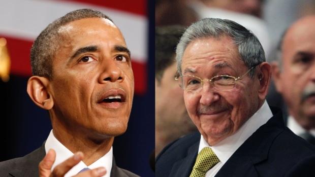 Tổng thống Mỹ Barack Obama và Chủ tịch Cuba Raul Castro sẻ tuyên hôm bình thường hóa quan hệ ngoại giao giữa hai nước, đánh dấu sự thay đổi đáng kể nhất trong chính sách của Mỹ đối với đảo quốc cộng sản trong nhiều chục năm vừa qua. Hình: Reuters.