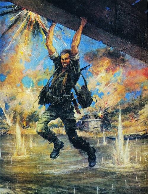 Tranh của Đại tá Charles Waterhouse của Đại tá John Ripley treo lủng lẳng trên sông Cửa Việt như Angry lính Bắc Việt bắn vào anh ta. Nguồn: http://nobility.org/