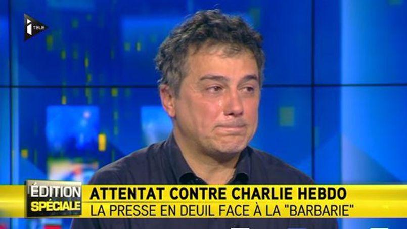 Bác sĩ Patrick Pelloux thuật lại cản tàn sát ở tòa soạn tạp chí Chralie Hebdo. Ảnh chụp lại từ màn ảnh truyền hình itele.
