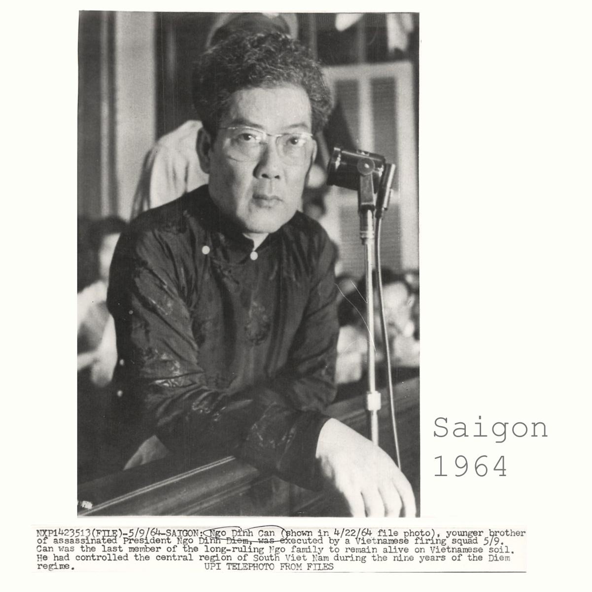 Ông Ngô Đình Cẩn tại tòa án quân sự (Saigon  /4/1964). Nguồn UPI