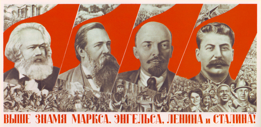 Dương cao ngọn cờ Marx-Engels-Lenin-Stalin? Nguồn: commonamericanjournal.com