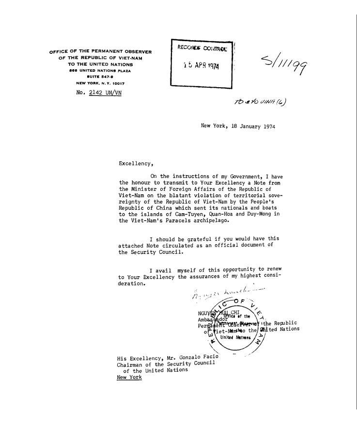 Công văn Đại sứ Nguyễn Hữu Chí gởi Chủ tịch HĐ Bảo an LHD, Gonzalo Facio, phản đối CHNDTH trắng trợn vi phạm chủ quyền Việt Nam (18/01/1974). NguoofnL Wilson Center.  Digital Archive, International History  Declassified