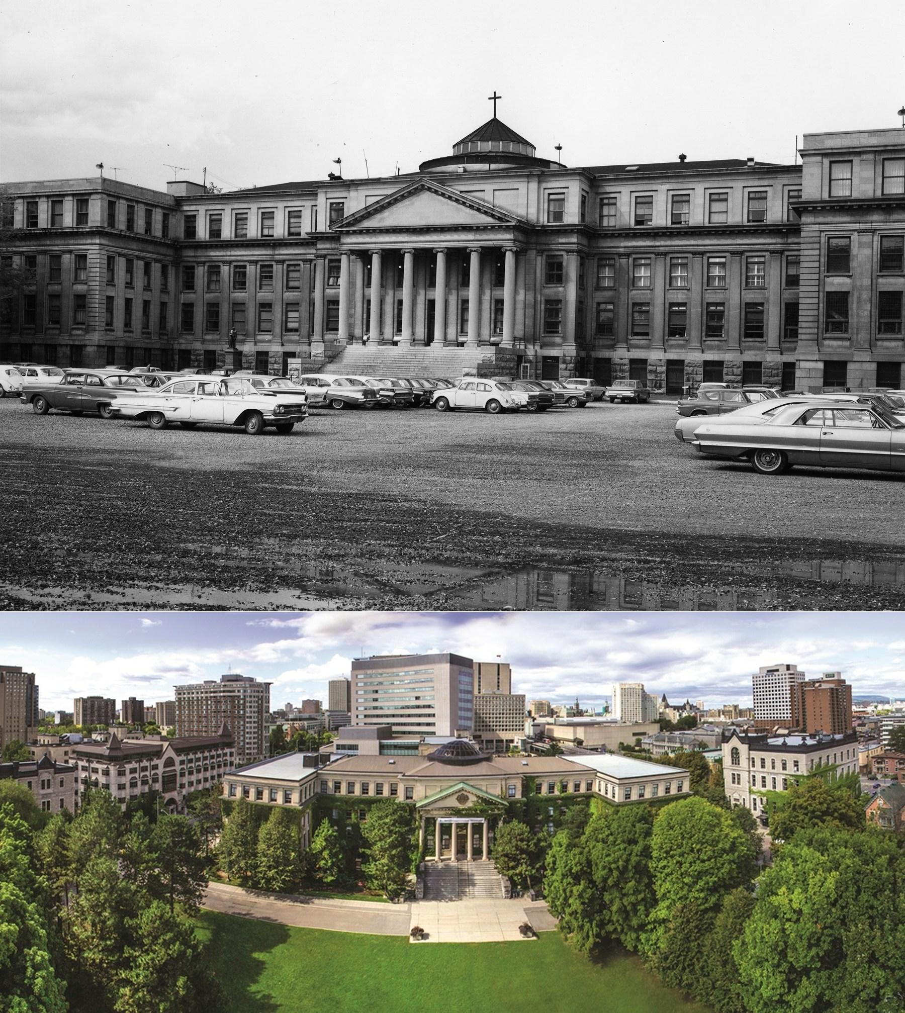 Hình trên: Tabaret Hall Đại học Ottawa những năm 1960. Hình dưới: Bãi đậu xe nay đã là sân cỏ xanh rì. Nguồn: http://thesustainabilitree.blogspot.ca/ & www.gazette.uottawa.ca