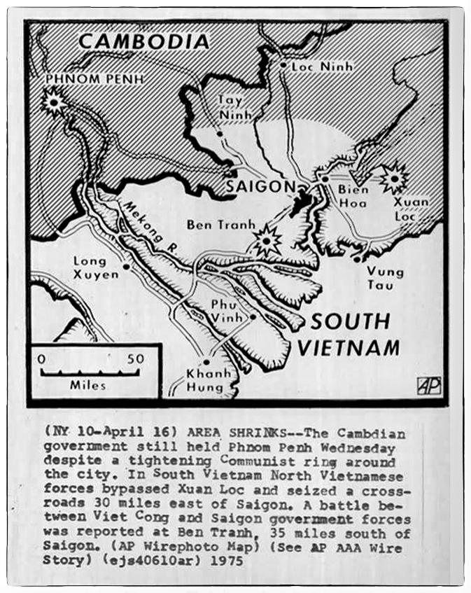 Bản đồ VNCH Ngày 16 tháng Tư. Nguồn AP
