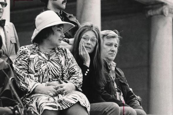 Left to right, Bella Abzug, Gloria Steinem, and Mike Nichols at a rally in Manhattan, May 10, 1975.