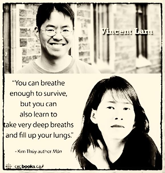 Hai tác giả gốc Việt viết sách bằng tiếng Anh (Vincent Lam's The Headmaster's Wager) và tiếng Pháp (Kim Thúy's Ru). Nguồn: CBC