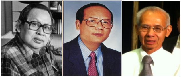 Từ trái: Huỳnh Sanh Thông (1926-2008), Đỗ Văn Gia (1946-1992), Từ Mai Trần Huy Bích