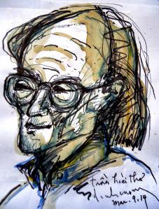Chân dung Trần Hoài Thư phác thảo bút dạ đen và màu cà phê. Nguồn:  Đinh Cường 3- 2014