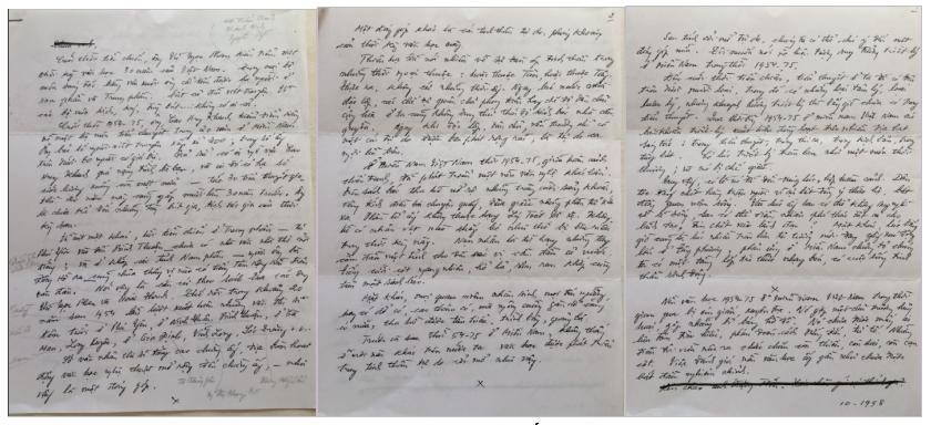 Thủ bút Võ Phiến, bản soạn bài nói chuyện với Đặng Tiến, tháng 10, 1998.