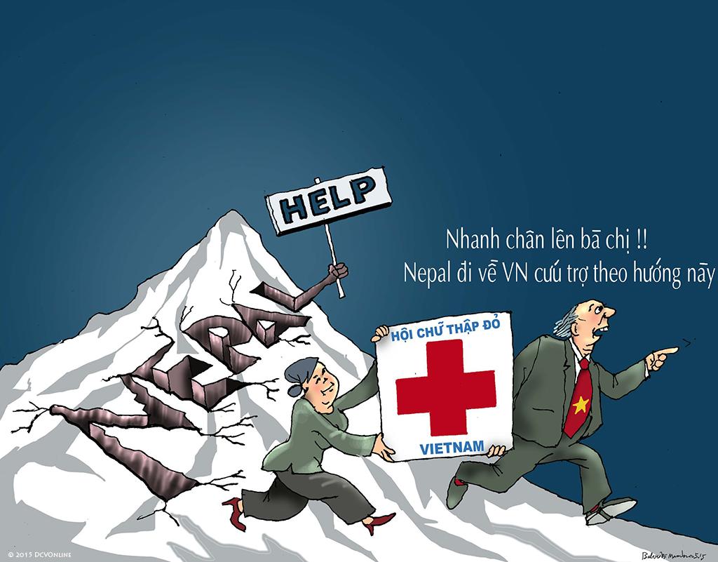 Hội múa rối Chữ thập đỏ VN và động đất ở Nepal. Tranh Babui.