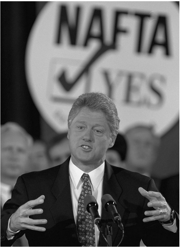 President Bill Clinton has the support of Congress for NAFTA, but most of the lawmakers in his party voted against. Source: Doug Mills / Associated Press