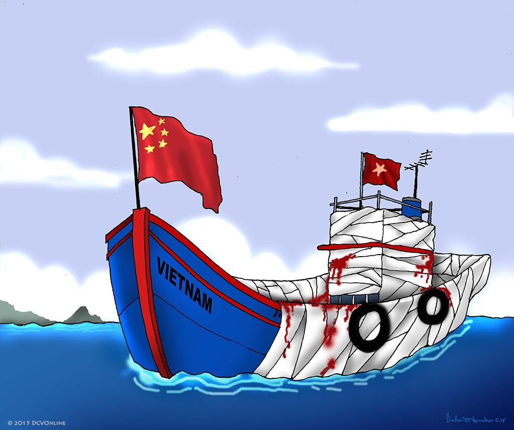 Vũ khí của đảng giúp ngư dân chống tàu lạ. Tranh Babui.