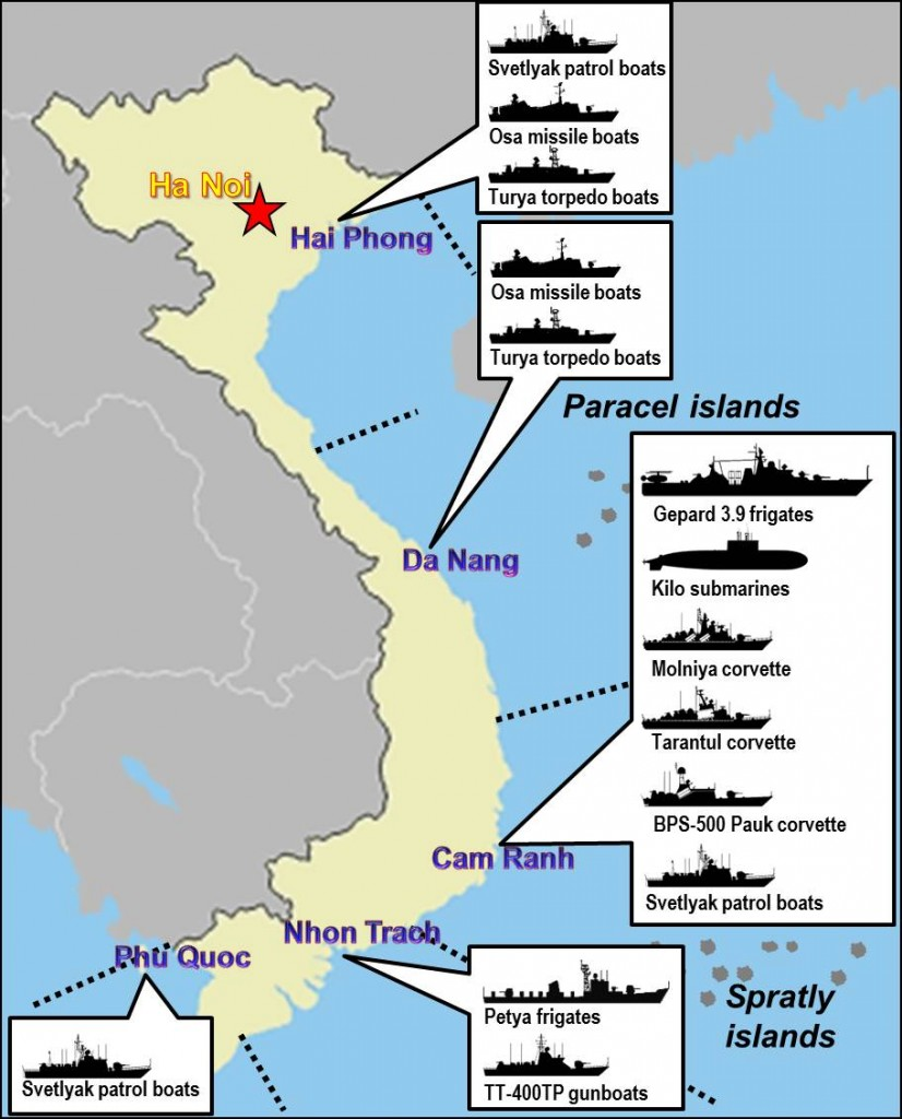 """Hạm đội của nước CHXHCN Việt nam hiện nay. Nguồn: Wikipeadia/""""Vietnam People's Navy fleet"""" by Pham Nguyen Phuong Quynh - Own work. Licensed under Public Domain via Wikimedia Commons - https://commons.wikimedia.org/wiki/File:Vietnam_People%27s_Navy_fleet.jpg#/media/File:Vietnam_People%27s_Navy_fleet.jpg"""