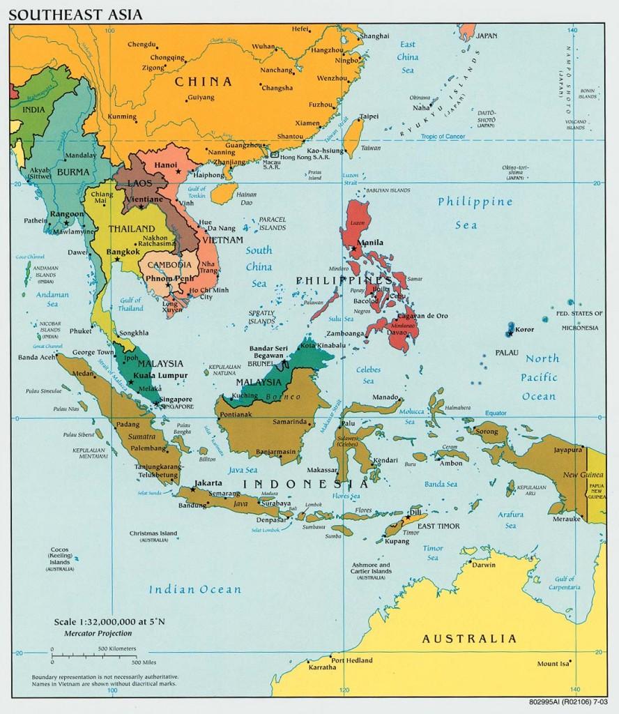Bản đồ chính trị: Cá nước triong vùng Đông Nam châu Á. Nguồn: aseanup.com