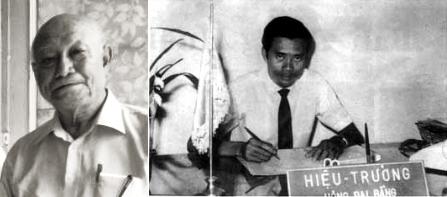 Một trong ghững thầy giáo đâu tiên và hiệu trưởng đầu tiên của Trường Trung Học Cộng Đồng Quận 8: (T) HỒ Công Hưng (2014, (P) Uông Đại bằng (1966). Nguồn: luongvancan.avcyber.com/