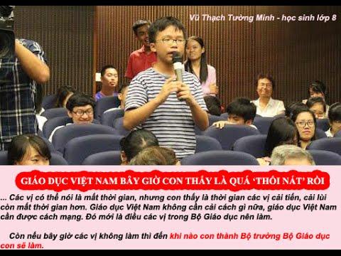 Vũ Thạch Tường Minh phát biểu trong buổi hội thảo (chụp từ clip youTube).