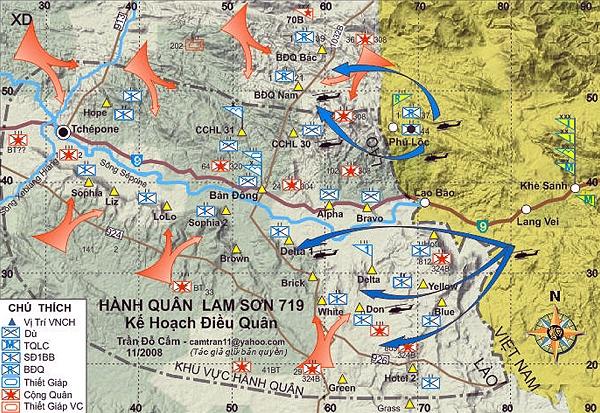 Bản đồ hành quân Lam Sơn 719. Copyright Trần Đỗ Cẩm.