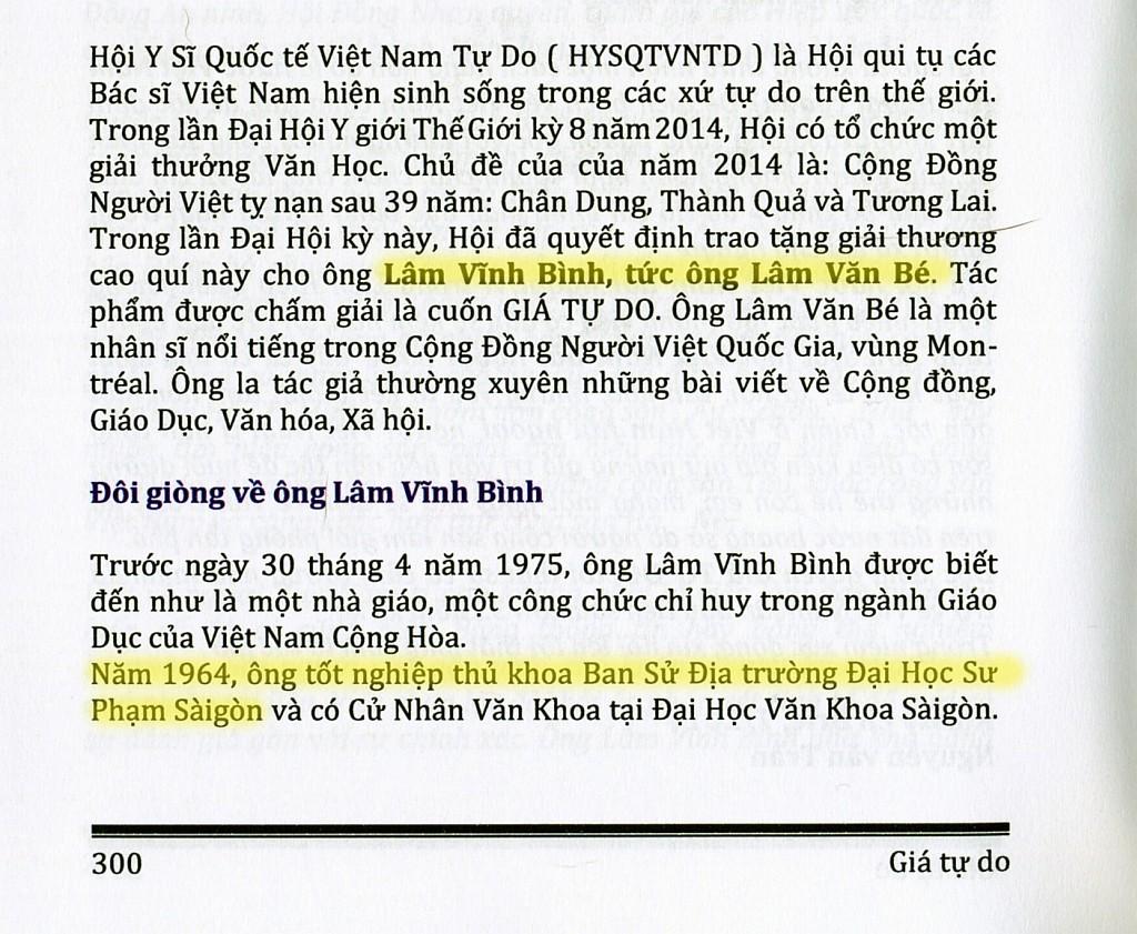 Nguồn:  Lâm Vĩnh Bình, Giá Tự do, trang 300