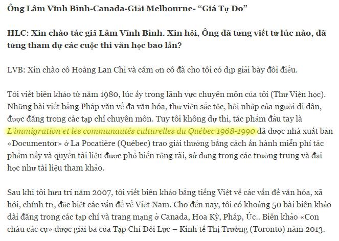 Lâm Văn Bé trả lời phỏng vấn của trang Hoàn Lan Chi. Nguồn: Trang Hoàng Lan Chi