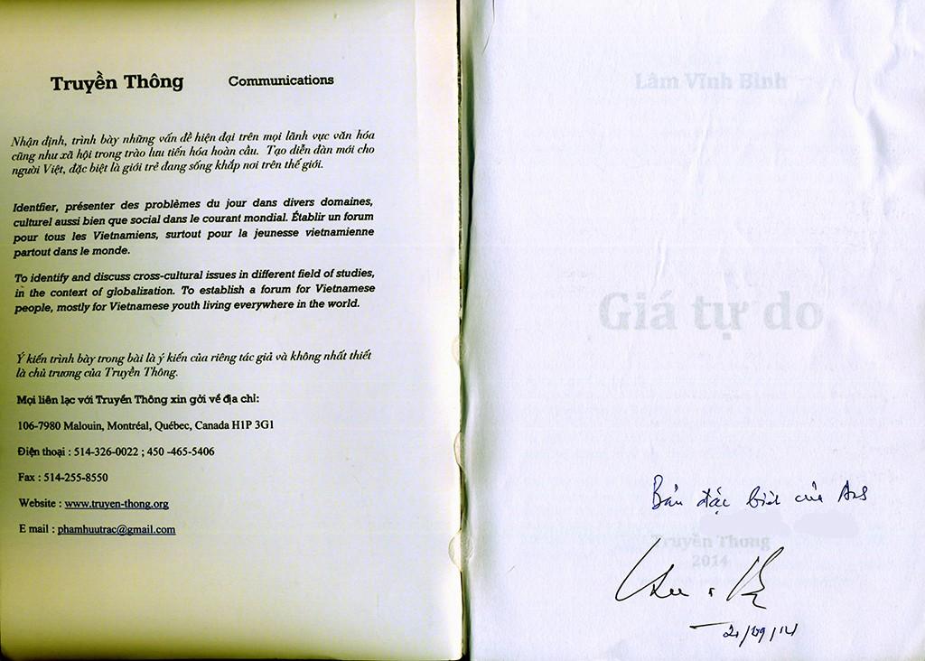 Mặt trong bìa trước và chữ ký của tác giả. Nguồn:  Truyên-thong.org