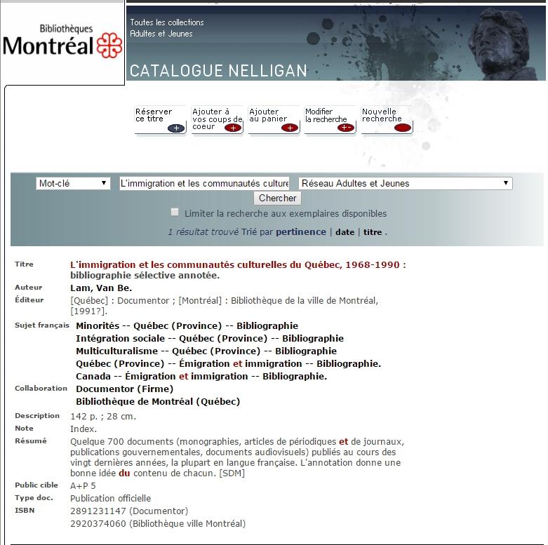 """Lam Van Be, """"L'immigration et les communautés culturelles du Québec, 1968-1990 : bibliographie sélective annotée"""". Nguồn: Thư viện Montreal"""