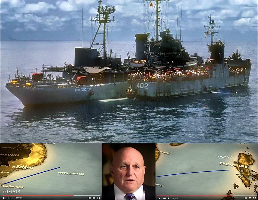 """Richard Lee Armitage và chiến hạm USS Kirk dẫn đoàn tàu của Hải quân Việt Nam và 30000 người đi tị nạn (1-7 tháng 5, 1975, Biern Đông). Nguồn hình: """"The Last Days in Vietnam"""", pbs.org"""