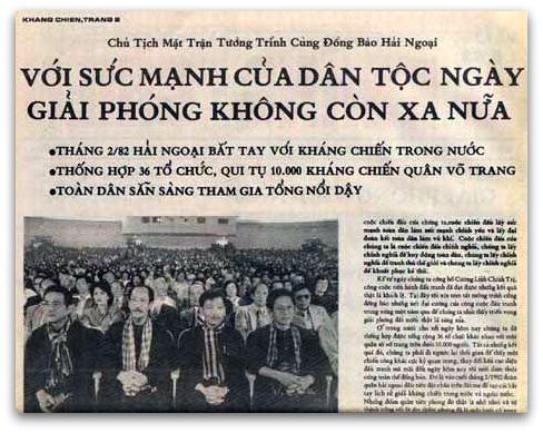 """Báo Kháng Chiên"""" ông Chủ tịch lại đem con số mười ngàn quân nhảm nhí ấy nghiêm trang tuyên bố trong đại hội!. Nguồn Mặt Trận HCM"""