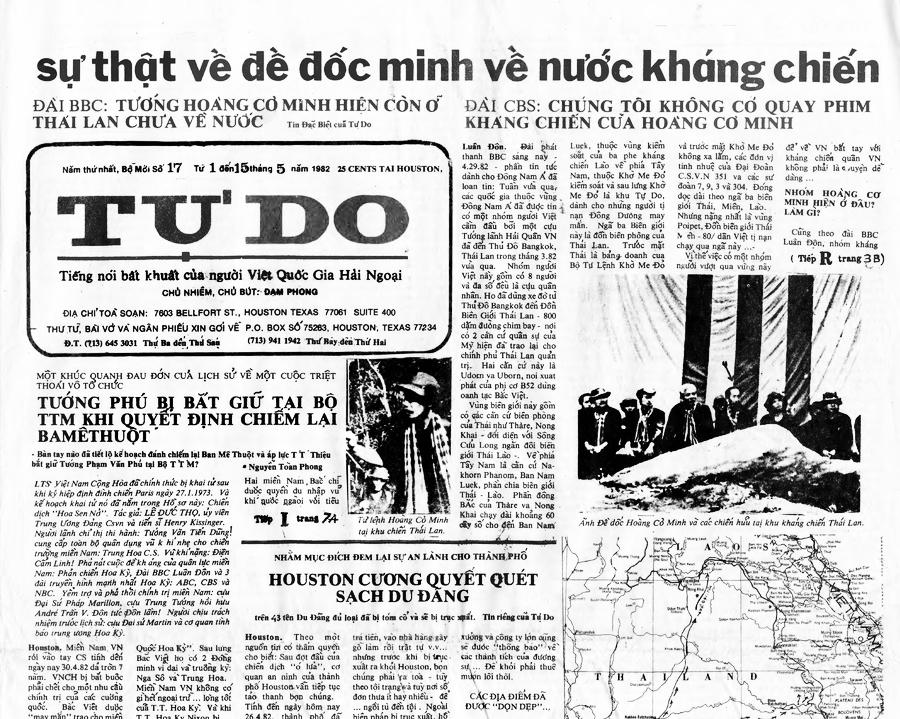 """Một trong những bản cuối cùng của báo """"Tự Do"""" của ký giả Nguyễn Đạm Phong tố cáo Mặt trận gây hiểu lầm lừa dối cộng đồng người Mỹ gốc Việt. Nguồn: Frontline-ProPublica"""
