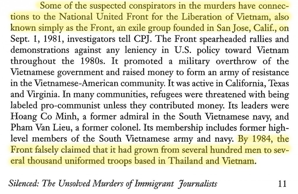 """Silenced: The Unsolved Murders of immigrant journalists in the United States"", Committee to Protect Journalists, CPJ, December 1994, trang 11."