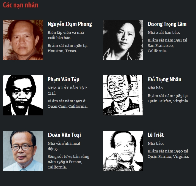 Nạn nhân của những vụ ám sát và mưu sát. Nguồn: propublica.org