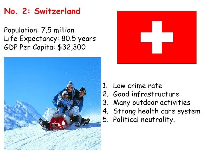 Thuỵ Sĩ, môt trong những quóc gia hạnh phúc nhất. Nguôn:  slideshare.net/kkjjkevin03/worlds-happiest-countries