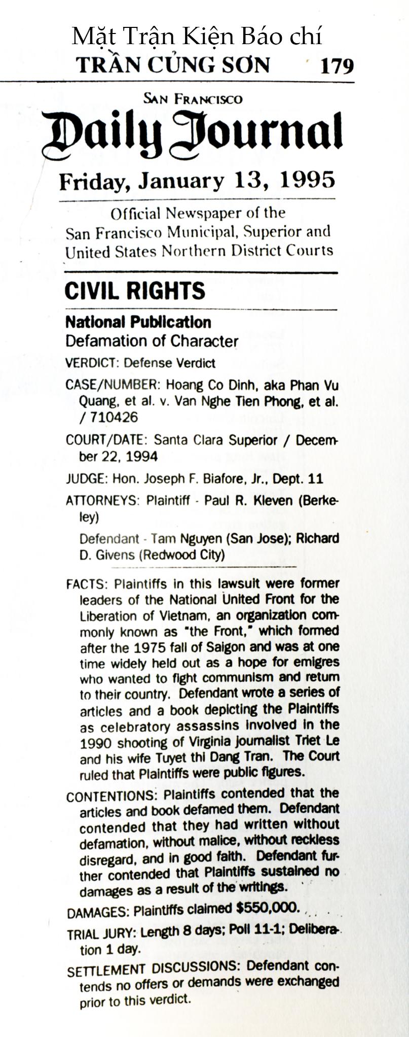 Kết quả vụ kiên  dan sự năm 1994. Nguồn: TCS