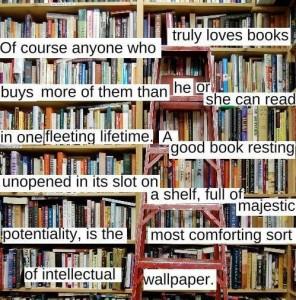 Mua sách nhiều hơn để đọc vì yêu sách... một tấm tranh trang hoàng tri thức. Nguôn: weheartit.com