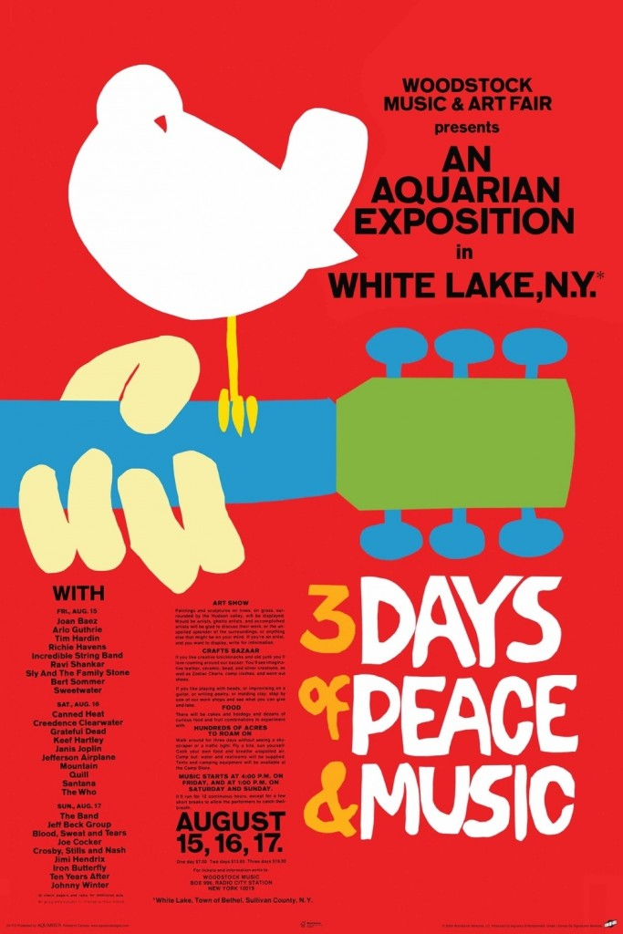 Bích chương quảng cáo 3 ngày  Đại hội nhạc trẻ ở Woodstock, năm 1969. Nguồn: OntheNet