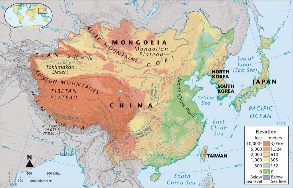 Bản đồ địa thế Trung Hoa. Nguồn:
