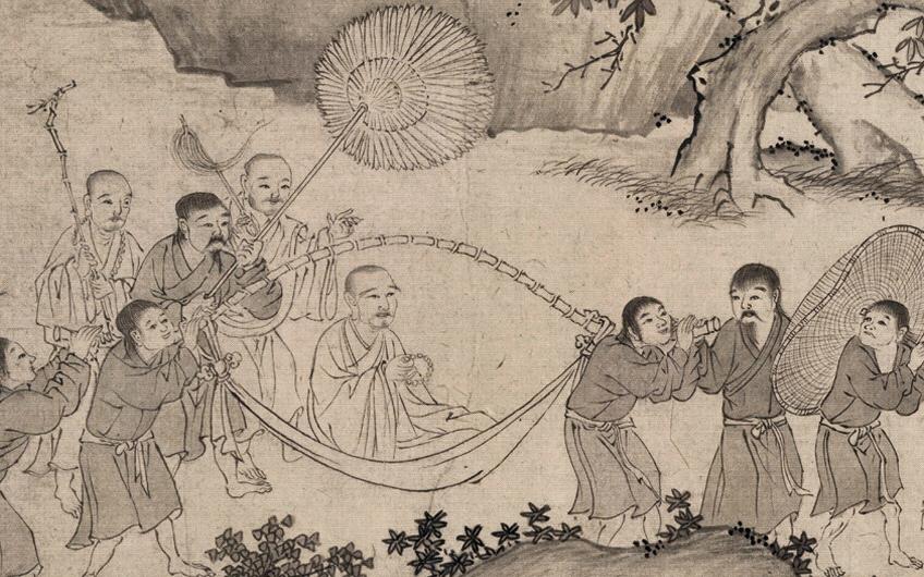 Người dân Việt Nam cắt tóc ngắn, đi chân đất, khiêng võng chở Phaaft Hoàng Trần Nhân Tông. (Trúc Lâm đại sĩ xuất sơn đồ). Nguồn: By Ptdtch - Own work, CC BY-SA 3.0, https://commons.wikimedia.org/w/index.php?curid=33717474