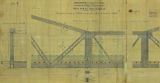 Bản vẽ đồ án cầu Long Biên, do nhà thiết kế và hãng thầu thi công Daydé & Pillé đóng dâu và ký tên ngày 6 novembre 1897, hiện lưu tại Trung tâm LTQG I. Nguồn: Flickr.com
