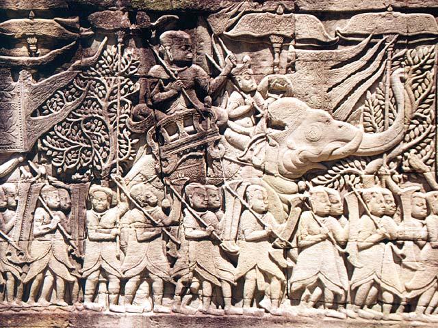 Quân đội Khmer tiến hành chiến tranh chống lại người Chăm; Tranh trạm nổi  Bayon-ngôi đền ở Angkor, Campuchia (S phần, E gallery, cuối 12 đến đầu thế kỷ 13)