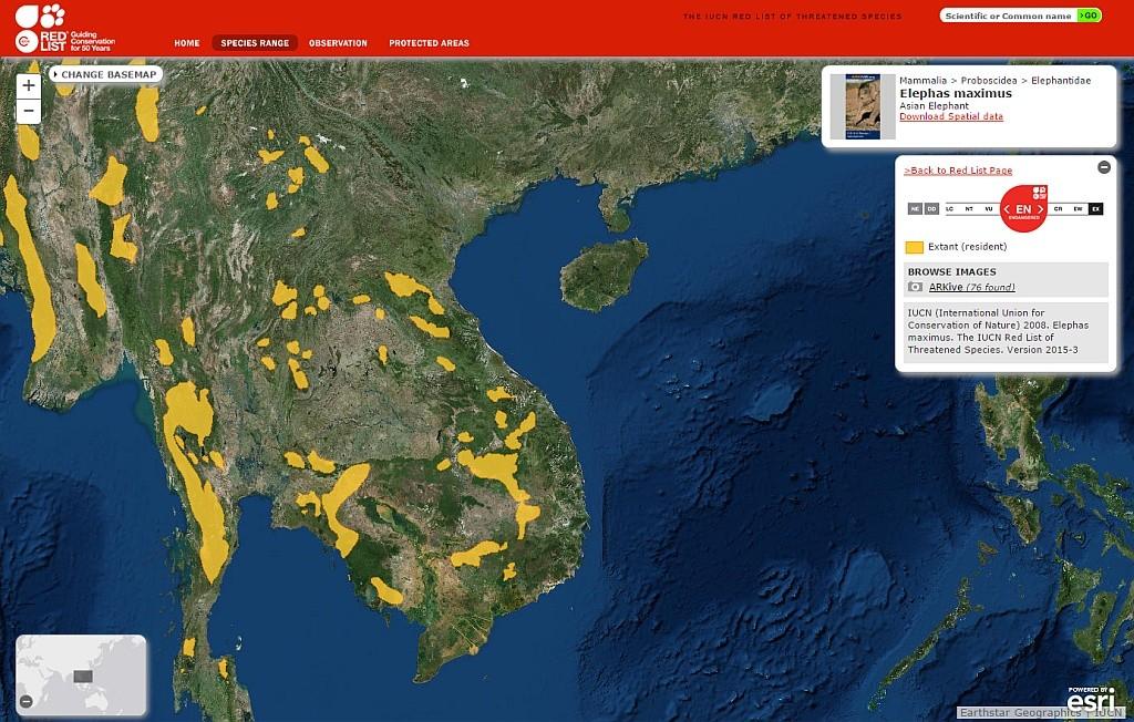 Khu vực sinh sống của voi châu Á. Nguồn: