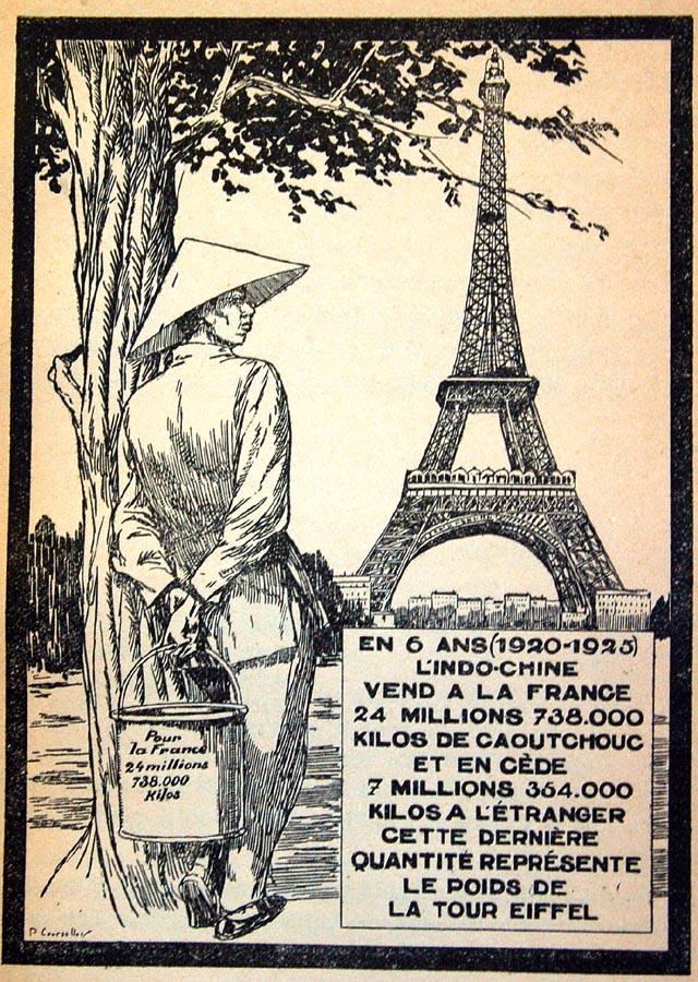 Ích lợi kinh tế cho Pháp qua việc khai thác cao su ở Đông Dương. Nguồn: http://belleindochine.free.fr/