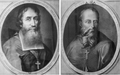 Hai giáo sĩ của Hội Thừa sai Hải ngoại Paris (MEP): Mgr François Pallu (1626-84). Bên phải: GM Tổng đại diện Nam Kỳ Pierre Lambert de la Motte (1624-1679)