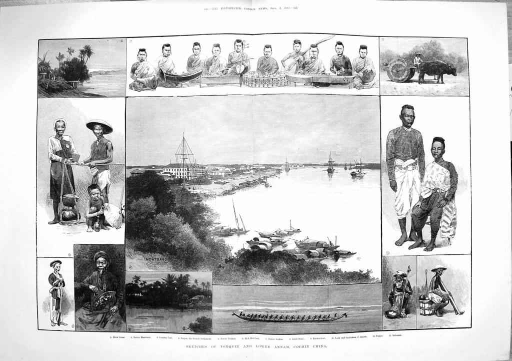 Người Việt Nam (Bắc Kỳ, Trung Kỳ, Nam Kỳ) năm 1883. Nguồn: Illustrated London News, Sept. 1, 1883.