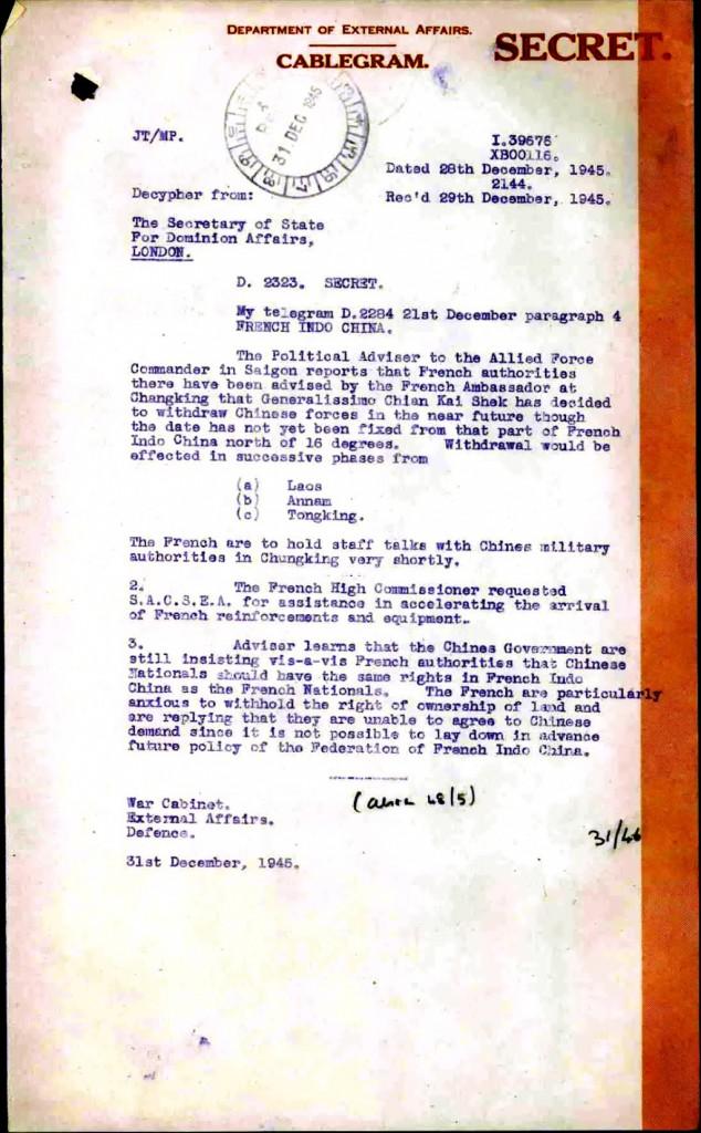 Điện tín mật gởi cho Bộ Ngoại giao Anh Quốc, 28/12/1945. Nguôn: LMK