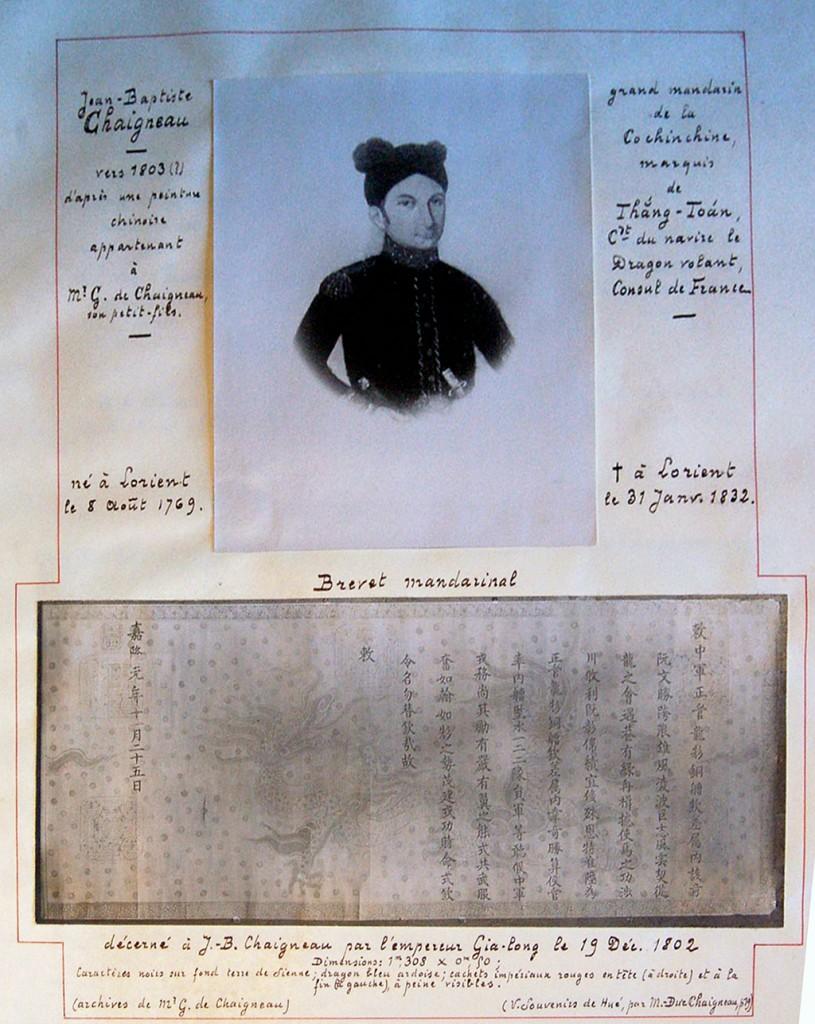 Jean-Baptiste Chaigneau và chiếu phong quan của Hoàng đế Gia Long , 1802. Nguồn:  Văn khố Chaigneau